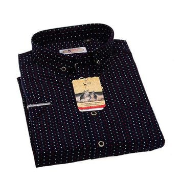 Men's Fashionable, Slim Fitting, Casual Brand Short-Sleeved Designer Pin Taps Printed Button Down Shirt