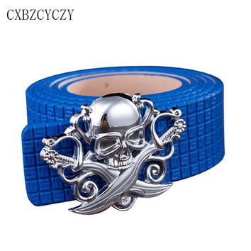 Style fashion Belt Mens Luxury Real Leather Women Belts For Men Hot leisure Skull belt high quality Smooth buckle