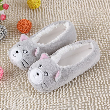 New Warm Soft Sole Women Indoor Floor Slippers/Shoes Animal Shape White Gray Cows Pink Flannel Home Slippers 6 Color
