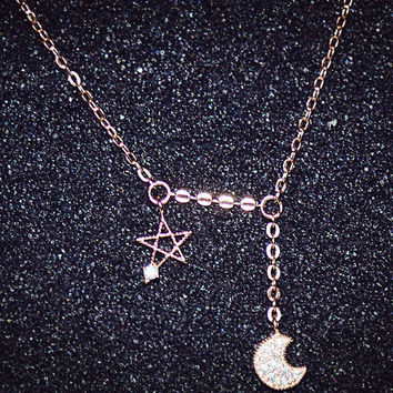 Womens Stars Moon Pendant Necklace Gift-116