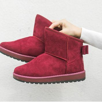 The new bow women snow boots warm winter cotton shoes