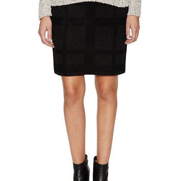 Silk Felted Plaid Pencil Skirt