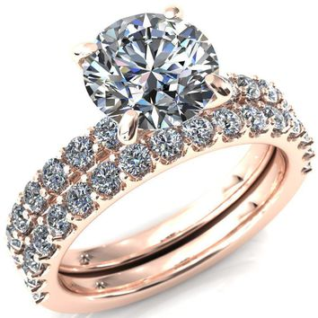 Mylene Round Moissanite 4 Prong Sculptural Half Eternity Diamond Engagement Ring