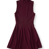 Ribbed Mock-Neck Fit & Flare Dress
