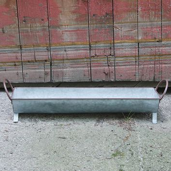 "Galvanized Metal Floral Planter in Grey - 20"" L x 5"" W x 2.75"" H"