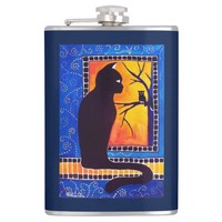 Insomnia Cat and Owl Whimsical Black Cat Design Hip Flask