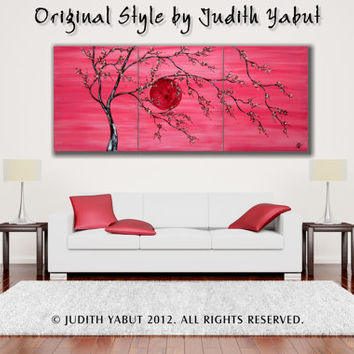 "Painting ""Moonstruck"" original acrylic hand paint wall decor love and romance canvas fine art 48x20"" -Made to order"