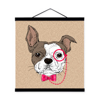 Bulldog Vintage Retro Gentleman Animal Portrait A4 Wooden Framed Canvas Painting Wall Art Print Picture Poster bedroom Home Deco