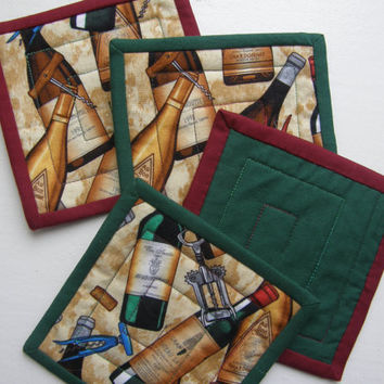 Quilted Fabric Coasters - WINE BOTTLES