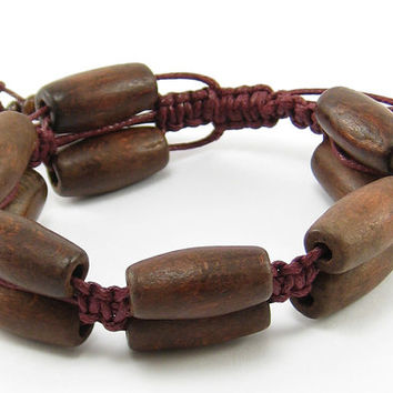 Macrame bracelet, handmade, brown bracelet, cotton waxed cord,  macrame, cuff, for women, unisex, for men, wooden beads