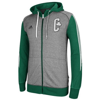 adidas Boston Celtics Pre Game Full Zip Hooded Jacket - Kelly Green/Charcoal