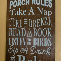 Custom Family Name Porch Rules Sign