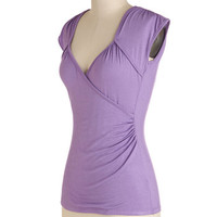 ModCloth Mid-length Cap Sleeves Seemingly Sew Top in Lilac