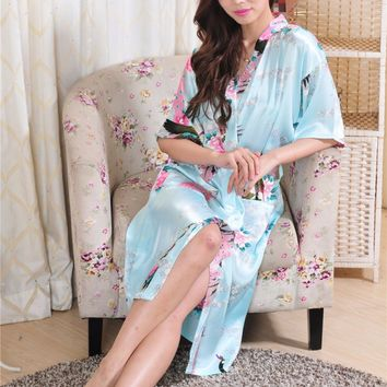 2017 autumn nightgown Women Satin Kimono Robe Obi Japanese Yukata Geisha Dress Sexy Lingerie Rayon Nightgown Sleepwear Bathrobe