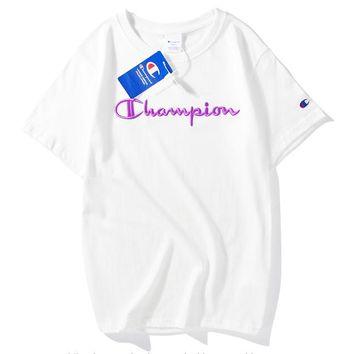 Champion Fresh Color Fashion Women Men Tee Shirt Top Embroidery Word Purple