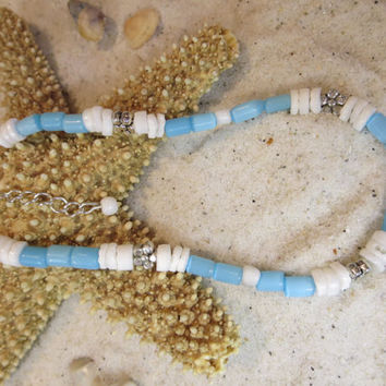 Sky Blue & White Clouds Silver Beads Ankle Bracelet Beach Anklet Summertime Jewelry Sun tan Natural Shell Bohemian Chic