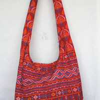 YAAMSTORE thai art graphic red hobo bag sling shoulder crossbody hippie boho purse