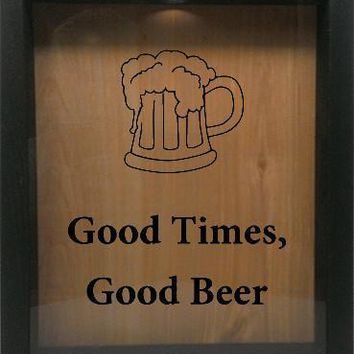 "Wooden Shadow Box Wine Cork/Bottle Cap Holder 9""x11"" - Good Times, Good Beer with Beer Mug"