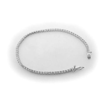 2mm Square-cut Cubic Zirconia Tennis Bracelet in Sterling Silver