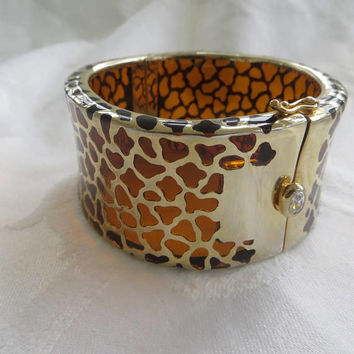 Vintage KJL Lucite Leopard Cuff Bracelet, Animal Print Hinged Bangle Bracelet, Designer Kenneth Lane Jewelry