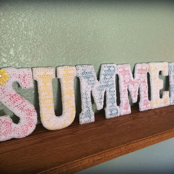 Summer Decor-Handcrafted Letter Set by Tightly Wound Designs