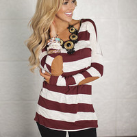 Large Stripes and Suede Elbow Patch Top