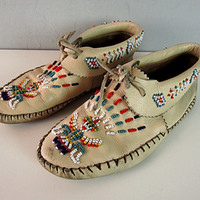 Vintage Taos Southwestern Leather Indian Beaded Moccasins Native American Bird Man Symbol Distressed Hippie Moccasin Shoes Boots Boho