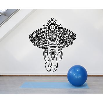 Vinyl Wall Decal Elephant Head Ornament Yoga Meditation Zen Stickers Mural (g2532)