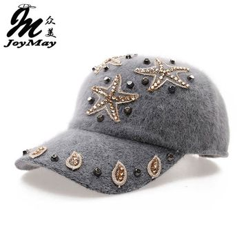 Free shipping fashion winter hat rabbit fur baseball cap Starfish Women's Autumn and Winter cap W010