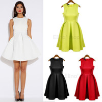 Elina women new fashion 2014 Sexy solid sleevess candy neon color Party One-piece Female  dress s m l white/yellow/black/red