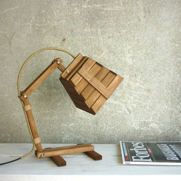 Kran VII, desk lamp adjustable module boutique custom walnut big wooden desk table working night lighting lamp unique style, Paladim