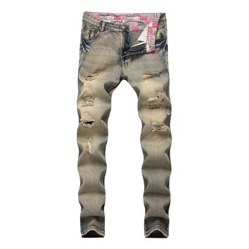 Ripped Holes Zippers Denim Pants Jeans [3444985200733]