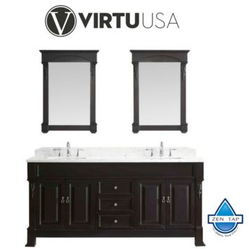 """Huntshire 72"""" Double Bathroom Vanity in Dark Walnut with Marble Top and Square Sink with Mirrors"""