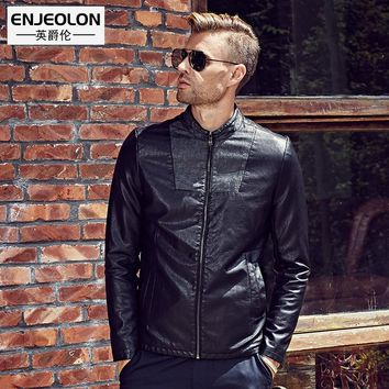 new Motorcycle Leather PU Jackets Men Slim black fashion Clothing zipper cuff Stand collar Male Casual Coat