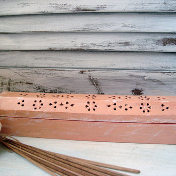 Coral Painted Wooden Incense Burner, Cottage Chic Incense Coffin, Incense Box, Shabby Chic Distressed Incense Storage Box