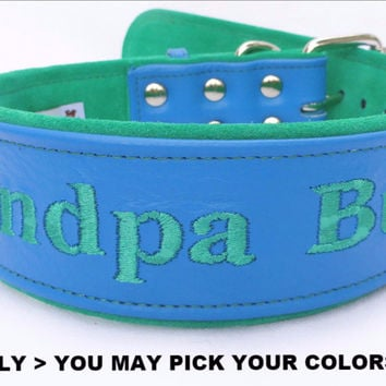 "Dog Collar: Leather w/ Suede - 2"" Wide - Personalized - Adjustable (Sizes from 18-24) Example 5"