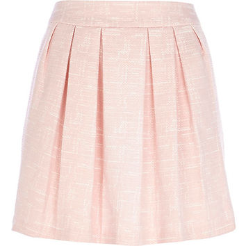 River Island Womens Light pink jacquard pleated mini skirt