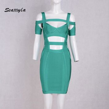 Seamyla New Fashion Green Winter Dress Women Sexy Cut Out Bodycon Bandage Dresses Sleeve Vistidos Cocktail Party Dresses 2017