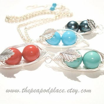 2 Peas in a pod necklace with inset leaf - Swarovski pearl necklace - Best Friend - wire wrapped necklace - Bridesmaids