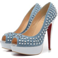 Christian Louboutin Fashion Edgy Denim Rivets Red Sole Heels Shoes