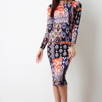 Geometrical Block Print Long Sleeve Midi Dress