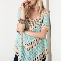 Umgee Mint Lace and Crochet Knit Top