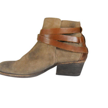 Women Boho Boot Bohemian Boot Brown Ankle from SecondHandObsessio