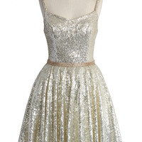 The Perfect Glam Sequins Cami Dress in Light Gold Beige