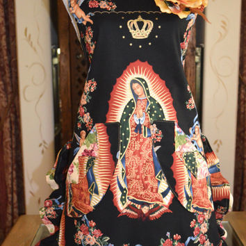 Virgen de Guadalupe Mother of Mexico Apron With Cabbage Rose Print Ruffle