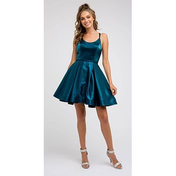 Caged-Back Homecoming Short Dress Peacock with Pockets