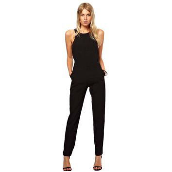 malianna Summer Elegant Womens Rompers Jumpsuit Casual Solid Bodysuit Sleeveless Crew Neck Long Playsuits Plus Size