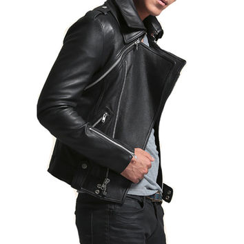Multi-Zip Black Faux Leather Jacket