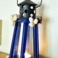 Nautical Wooden Sea Shell Lighthouse Candle Holder-Handmade Woodwork Lighthouse Candle Holder