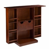 Walnut Fold Away Folding Bar Wine Storage Cabinet